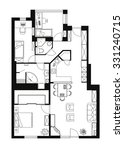 black and white floor plan of a ... | Shutterstock .eps vector #331240715