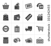 black shopping and retail icons ... | Shutterstock .eps vector #331242455