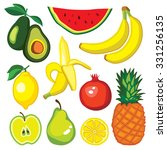vector set with fruits  avocado ... | Shutterstock .eps vector #331256135