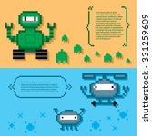 robots banner set. pixel art.... | Shutterstock .eps vector #331259609