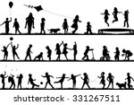 Set Of Children Silhouettes...