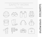 vector set of safety work icons ... | Shutterstock .eps vector #331268591