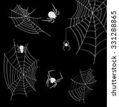 cobwebs and spiders on a black... | Shutterstock .eps vector #331288865