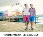 homosexual couple walking on a... | Shutterstock . vector #331302965