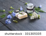 soap  cream and bath salt with... | Shutterstock . vector #331305335