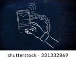 hand chained to a beeping... | Shutterstock . vector #331332869