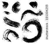 vector set of black ink brushes ... | Shutterstock .eps vector #331334255