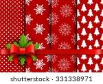 set christmas red seamless... | Shutterstock .eps vector #331338971
