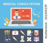 medical consultation flat... | Shutterstock . vector #331343159