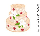 wedding cake with two crossed... | Shutterstock .eps vector #331348421