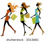shopping girls | Shutterstock .eps vector #3313681
