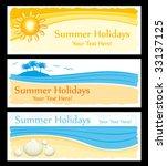 summer holidays banners vector... | Shutterstock .eps vector #33137125