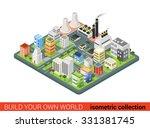 flat 3d isometric style city... | Shutterstock .eps vector #331381745