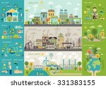 Green City Infographic Set Wit...