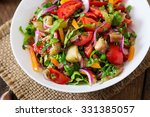 salad  baked eggplant and fresh ... | Shutterstock . vector #331385057