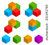colorful 3d isometric cubes | Shutterstock .eps vector #331392785
