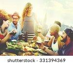 diverse people friends hanging... | Shutterstock . vector #331394369