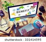 Small photo of Benefit Advantage Compensation Reward Bonus Concept