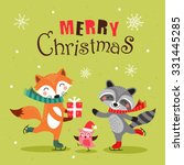 cute cartoon christmas card ... | Shutterstock .eps vector #331445285