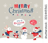 funny cartoon christmas card ... | Shutterstock .eps vector #331445561
