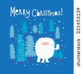 funny merry christmas card with ... | Shutterstock .eps vector #331453139