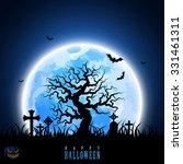 halloween moon tree tombstone... | Shutterstock .eps vector #331461311