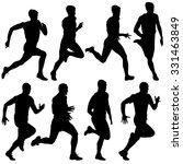 set of silhouettes. runners on... | Shutterstock . vector #331463849