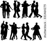 black silhouettes dancing on... | Shutterstock . vector #331464275