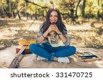 adorable teenager girl wearing... | Shutterstock . vector #331470725