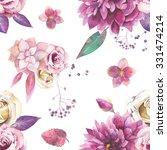watercolor vintage floral...   Shutterstock . vector #331474214