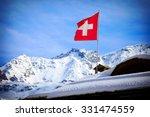 switzerland flag over swiss... | Shutterstock . vector #331474559