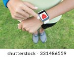 sport woman touch on hand watch ... | Shutterstock . vector #331486559