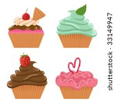 vector set of cupcakes | Shutterstock .eps vector #33149947