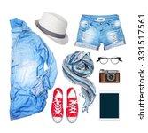 denim clothing on a white... | Shutterstock . vector #331517561