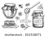 vector honey set. vintage hand... | Shutterstock .eps vector #331518071