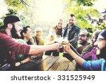 diverse people friends hanging... | Shutterstock . vector #331525949