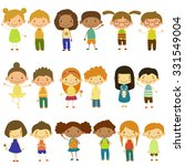 set of vector kids of different ... | Shutterstock .eps vector #331549004