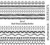 set of seamless borders. hand... | Shutterstock .eps vector #331551371