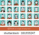 doodle set happy faces cartoon ... | Shutterstock .eps vector #331555247
