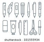 writing and art tools in line... | Shutterstock .eps vector #331555934