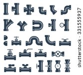 set of pipes  fittings and...   Shutterstock .eps vector #331555937