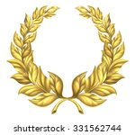 a golden laurel wreath design...