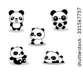 set of cute funny cartoon pandas | Shutterstock .eps vector #331567757
