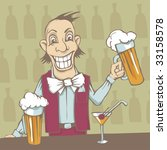 smiling barman with two beers... | Shutterstock .eps vector #33158578