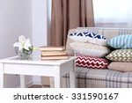 sofa with many beautiful soft... | Shutterstock . vector #331590167