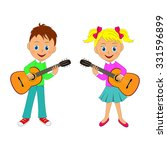 boy and girl playing the guitar ... | Shutterstock .eps vector #331596899
