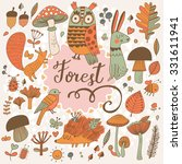 awesome forest set with lovely... | Shutterstock .eps vector #331611941