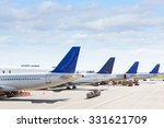 Tails Of Some Airplanes At...