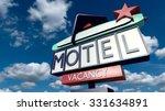 retro american drive in motel.... | Shutterstock . vector #331634891
