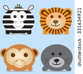 set of four cute round animals  ... | Shutterstock .eps vector #331634921